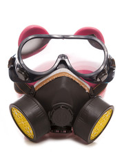 piggy bank wearing industrial gas mask