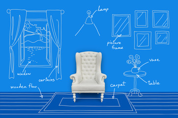 chair in a room, interior design concept