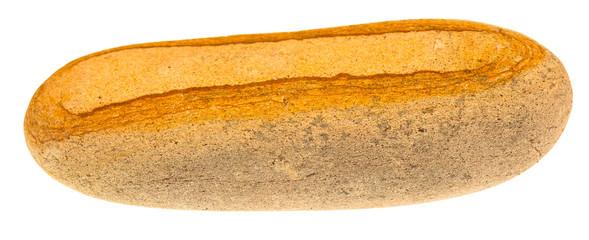 galet allongé basalte alvéolé sur fond blanc