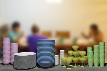 3d dishes on the rack, mealtime concept