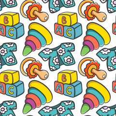 Seamless pattern with cartoon toys and baby items