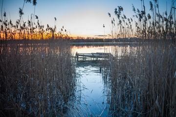 Sunset sky over lake