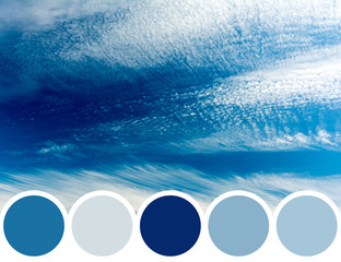 Color Palette Of Summer Blue Sky With Soft White Clouds