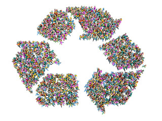 People that recycle . Large group of people in the shape of a re