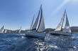 Sailing ships yachts with white sails in the open sea. - 79954443