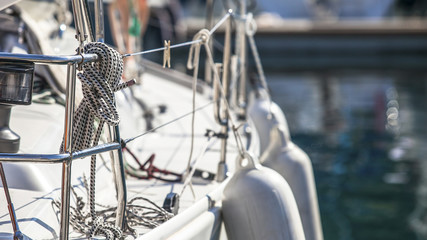 Rigging of sailing yachts, ropes and details.