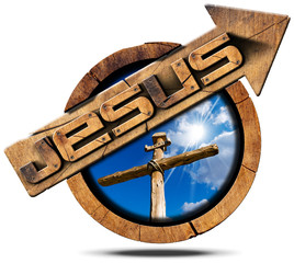 Jesus Wooden Sign with Arrow and Cross