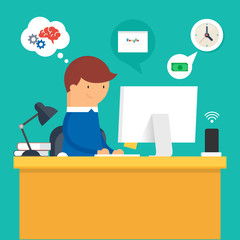 Vector illustration of a man sitting at the desktop and working