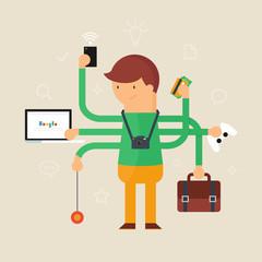 Multitasking man vector illustration, flat style