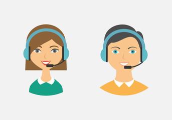 Call center operators, female and male avatar icons. Vector illu