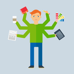 Multitasking character: designer. Flat style, vector illustratio