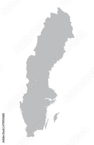 grey map of Sweden - 79955688