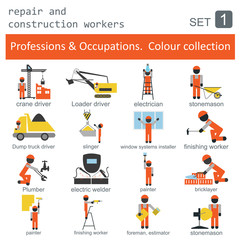 Professions and occupations coloured icon set. Repair and constr