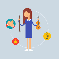 Character - musician, music concept. Vector illustration, flat s