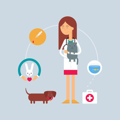 Character - veterinary surgeon, veterinary medicine concept. Vec