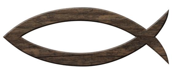 Fischsymbol aus dunklem Holz, freigestellt