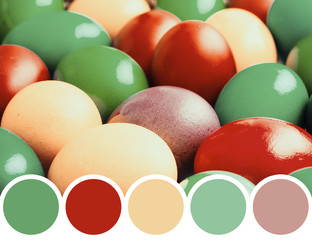 Color Palette Of Easter Eggs Pile In Basket