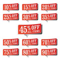 A set of retail coupons