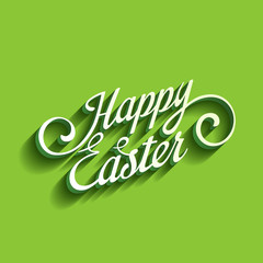 Happy Easter text greetings card. 3D Calligraphy Font