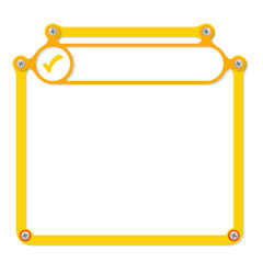 yellow frame for text with screws and frame for headline