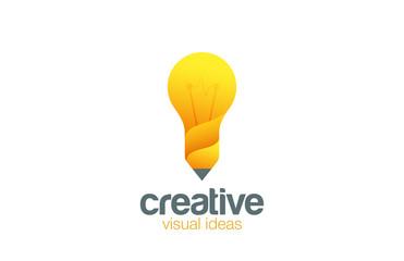 Lamp & Pencil Logo Creative idea Bright symbol vector