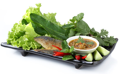 fried mackerel and vegetable