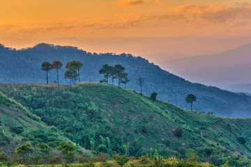 misty sunset at Doi Angkhang mountain, Chiang mai, Thailand