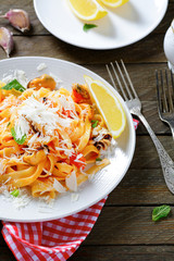 Italian pasta with seafood and parmesan