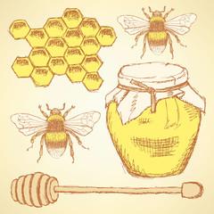 Sketch honey background in vintage style