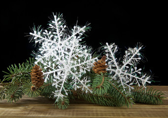 branch of fir-tree and snowflake
