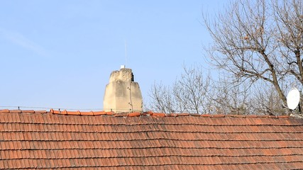 detail of old chimney on the  roof,zoom in,