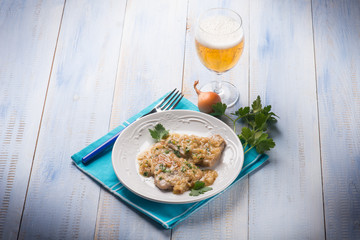 escalope with shallot and beer