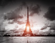 Effel Tower, Paris, France. Black and white with red sun light