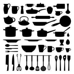 Küchenutensilien Kochzubehör Silhouetten Set