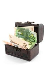 Euro bills in small chest