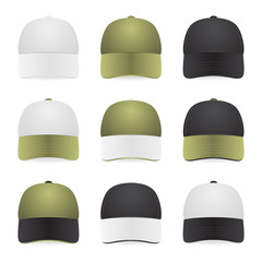 Two-color caps with white, khaki and black colors.