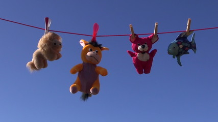 beautiful soft animal toys on clothes-line string and sky