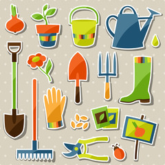Set of garden sticker design elements and icons