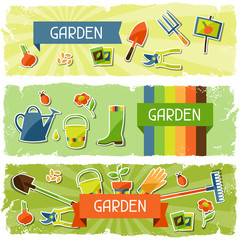 Banners with garden sticker design elements and icons