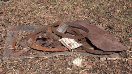 put rusty metal scrap-iron rubbish for recycling stack