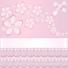 background with paper flowers and stripes with lace
