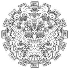 Aztec Warrior Mask Black Stroke Doodle