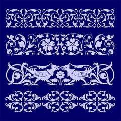königliche Verzierungen und Ornamente blau hellblau