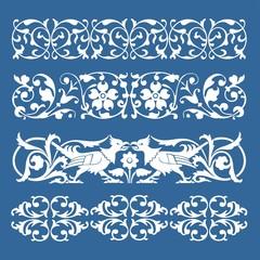 Mittelalter Borten Rahmen elemente blau weiß