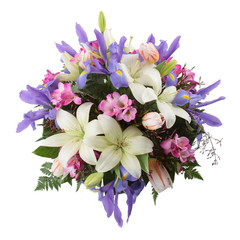 Flower arrangement seen from above