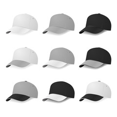 Two-color baseball caps with white, gray and black colors.