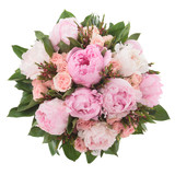 Bouquet made of Peony, Rose and Lilac flowers seen from above.