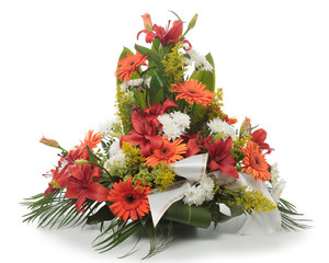 Funeral flowers arrangement made of Lily, Chrysanthemum and Gerb