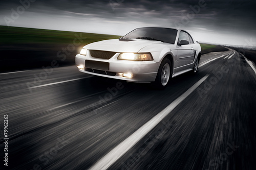Speed Car Clouds Asphalt Poster
