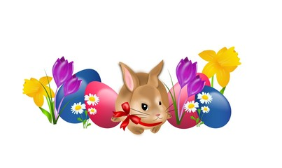 Easter rabbit with eggs and flowers